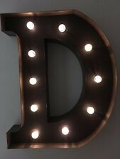 LED LIGHT CARNIVAL CIRCUS  RUST  METAL LETTER  D - WALL OR FREE STANDING 13INCH