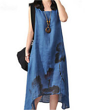 Women's Chinoiserie Loose Dress Print  Asymmetrical Blue Cotton Linen 3XL (2)