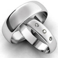 White Gold Diamond Set Band His and Hers set of Wedding Rings hers 3 diamonds
