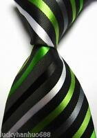 New Classic Stripes Green White Black JACQUARD WOVEN 100% Silk Men's Tie Necktie