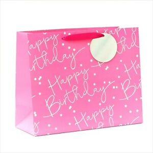 Happy Birthday GIFT BAG LARGE Paper Pink Silver Foiled Gift Tag Girls Ladies