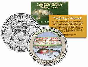 CREEK CHUB WIGGLEFISH Collectible Antique Fishing Lures JFK Half Dollar US Coin