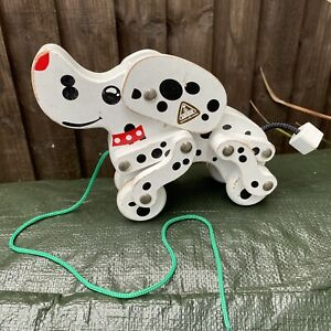 Vintage ELC Early Learning Centre White Black Spotty Wooden Pull Along Dog Toy