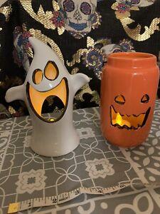 2 x Halloween Tea Light Holders Ghost & Pumpkin Ceramic