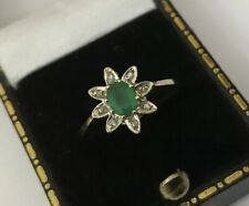 Vintage Hallmarked 9ct 9k Gold Oval Emerald Diamond Star Cluster Ring Size O