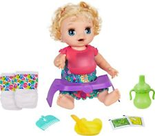 Baby Alive Happy Hungry Baby Blond Curly Hair Doll Makes 50+ Sounds & Phrases