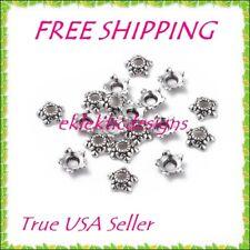 50pcs 6mm Antique Silver Tibetan Style 5 Point Flower Star Metal Bead Caps