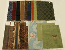 Upholstery Tapestry Fabric Lot Of 17 Pieces Green Blue Brown Flowers Butterfly