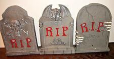 Lot of 3 Halloween Tombstones Gravestones Lights ~ Sound RIP Plastic Prop Decor