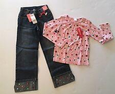 NWT Gymboree Cupcake Cutie Sz 7 Pink Sprinkle Top & 7 Slim 7S Gem Cuff Jeans