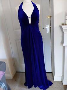 Floor Length Purple Velvet Evening Occasion Dress Slinky 14