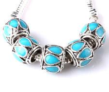 NEW 5pcs Tibetan silver lampwork spacer beads fit Charm European Bracelet A#222