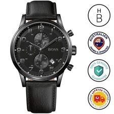 New Hugo Boss Mens Aeroliner Watch All Black IP S/Steel & Leather Chrono 1512567