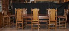 English Oak Refectory Table Set William Mary Farmhouse Chairs