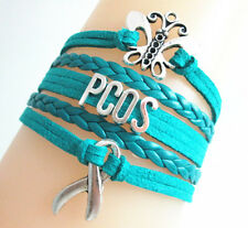New Butterfly PCOS Cancer Ribbon Charms Suede Leather Braided Bracelet - teal