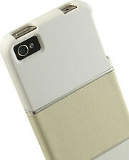 LIMITED LUXURY WHITE INTERLUX SLIDER CASE LEATHER CHROME FOR APPLE iPHONE 4S 4
