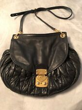 GORGEOUS Auth.  Miu Miu Black Lambskin Matelasse Leather Hobo Bag Crossbody