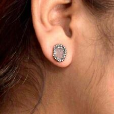 Slice Diamond Pave 925 Sterling Silver Stud Earrings 14K Gold Fine Gift Jewelry
