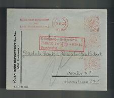 1933 Lodz Poland Bank Meter Registered Cover to Deutsche Bank Berlin Germany