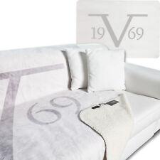 19V69 VERSACE 1969 Decke mit Schafwollimitat, hellgrau, 200x150cm, C42