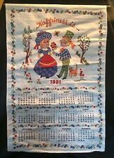 Vintage 1991 Calendar Towel Linen Kitchen Tea Fabric Cat Kitten Happiness Is