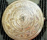 VINTAGE ELIZABETH ARDEN MADE IN SWITZERLAND ORNATE CHASED COMPACT NEVER USED