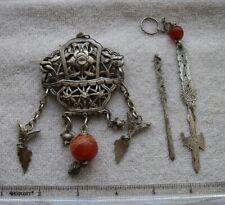 LOT: Fine Antique CHINESE SILVER FLORAL PENDANT & 2 Pick Pendants-NR