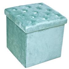 Blue Velvet Folding Storage Box Cushioned Foot Stool Ottoman Pouffe Button Seat