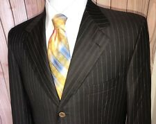 BRIONI SUPER 180'S NOMENTANO 3 BUTTON BROWN PINSTRIPE BLAZER SPORT JACKET 42S