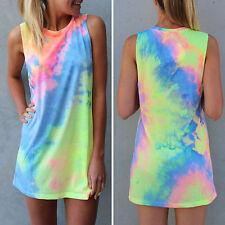 Womens Casual Summer Short Mini Dress Tops Bikini Cover Up Party Beach Sundress