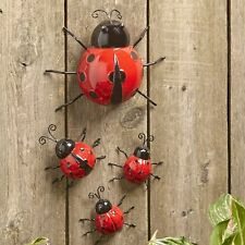 Metal Ladybug Garden Decorations with Red and Black Spots - Set of 4