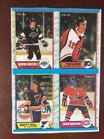 1989 O PEE CHEE opc Wayne Gretzky Brett Hull BOX BOTTOM 4 CARD UNCUT PANEL