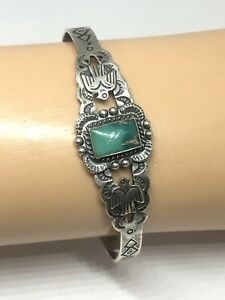 FRED HARVEY ERA NATIVE AMERICAN THUNDERBIRD STAMPED TURQUOISE CUFF