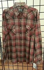 "SALE! NEW MEN'S OUTBACK BURGUNDY PLAID ""ROLLBACK"" WESTERN SHIRT! FREE SHIPPING!"