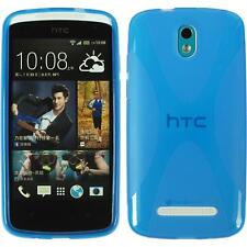 Silikon Hülle für HTC Desire 500 blau X-Style + 2 Schutzfolien