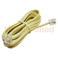 RJ12 Telephone ADSL Modem Modular Line Patch Flat Wall Cord Cable 6P4C 3M IVORY