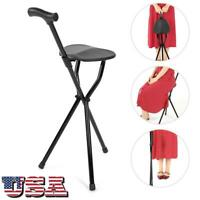 Foldable Crutch with Seat 3 Legs Handle Cane Walking Stick Fit for Elderly US