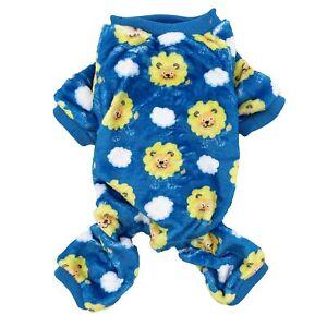 Soft Warm Fleece Dog Pajamas Jumpsuit Cute Pet Clothes Small Medium Pet XXS - L