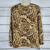 The Villager by Liz Claiborne | Tan & Brown Etched Paisley Long Sleeve Buttoned