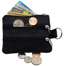 Leather Coin, Credit Card 4 Zipper Purse Mini Wallet Key Ring Change Pouch