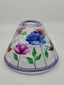 Yankee Candle Lamp Shade Tulip Flowers Crackle Glass