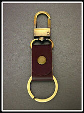 KEY CHAIN Leather& Hooks Snap Carabiner Keyring (Brass Metal Tone) P (88)G