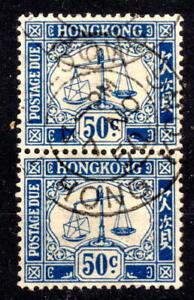 Hong Kong 50c pair  D12 excellent cancel Postage Dues KGVI [H260821]