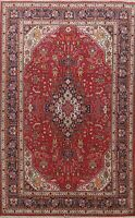 Vintage Red/Navy Blue Traditional Hand-Knotted Oriental Geometric Area Rug 7x10