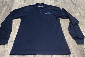 Bulwark FR Men's 3 Button Shirt Flame Resist Dark Blue Sz Small Reg Long Sleeve