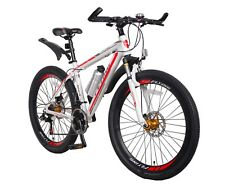 "Sale! White Red Mountain Bike 26"" 21 Speed Teenager Men Birthday Christmas Gift"