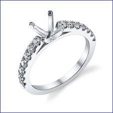 .50ct Diamond Solitaire 18K White Gold Designer Engagement Semi Mount Ring