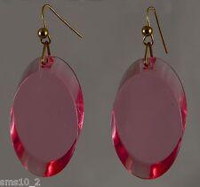 Pink Oval Acrylic Drop Earrings CJE411