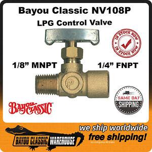 "Bayou Classic NV108P 1/4"" Brass Control Valve for LPG Gas Propane Burners"