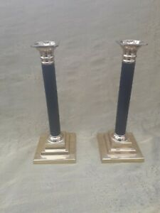 Vintage ~ Pair of Corinthian Brass & Black Pillar Candlesticks with Gold Candles